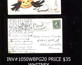 Vintage posted Whitney Halloween Postcard Cataloged Save 10 Dollars inv 1050 bblk