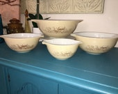 Vintage Pyrex Forest Fancies Pattern Nesting Mixing Bowl Set Cinderella Style Handled Brown Mushroom Speckled Design Retro Kitchen Glassware