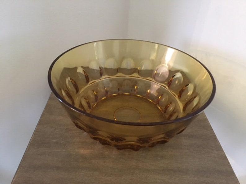 Nut Bowl Set or Salad Bowl Set Federal Glass Thumbprint Amber Berry Bowl Set