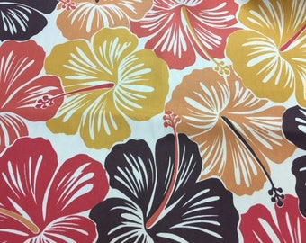 Upholstery weight Hibiscus print by Suburban Home