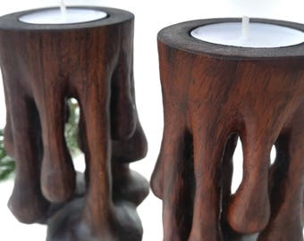 Awesome Wood Candle Holder, Awesome Candelabrum, Wooden Tea Candle Holders, Walnut Candle Stand, Strange Tea Candle Holders, Tea Candle Art