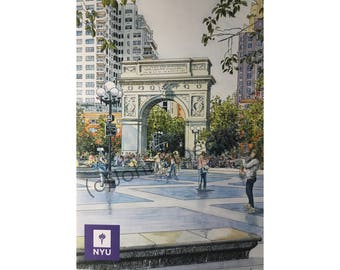 17929122427 New York University LIMITED EDITION Pen and Ink and Watercolor Art Print  Illustration by John Stoeckley