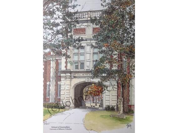 Artwork Missouri Baptist University Limited Edition Pen and Ink and Watercolor Art Print Illustration Alumni College Graduation Gift