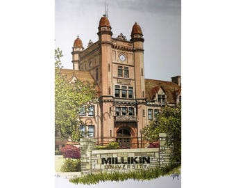 Millikin University LIMITED EDITION Pen and Ink and Watercolor Art Print Illustration by John Stoeckley
