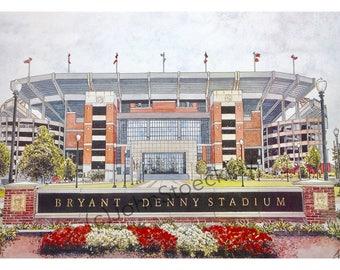University of Alabama LIMITED EDITION Bryant-Denny Stadium Pen and Ink and Watercolor Art Print Illustration - Graduation Gift, Alumni