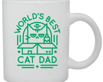 World's Best Cat Dad Mug - Great Father's Day Gift and Gift for Cat Lovers - Green Print