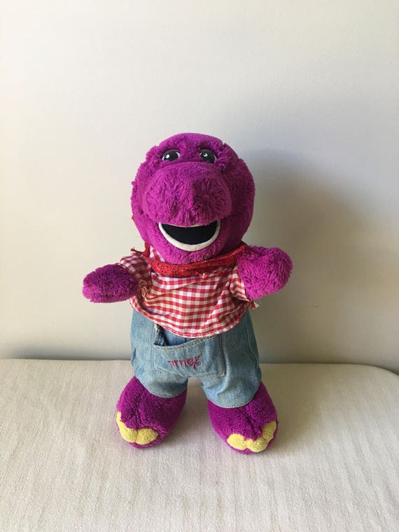 Vintage Barney Stuffed Animal With Country Western Etsy