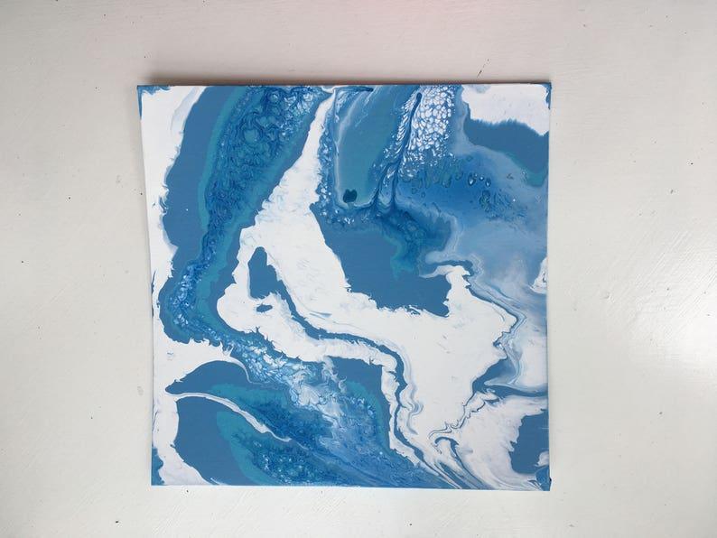 Peinture Murale Abstrait Acrylique Fluide Bleu Et Blanc Eau Océan Acrylique Wall Decor Rose Et Or Abstrait Wall Art Liquide Verser Peinture