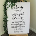 Vinyl Decal Sticker for DIY Unplugged Ceremony Wedding Welcome Sign - 15 inches/21 inches high - Easy to Apply Wedding Sign Decal
