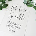Sparkler Send Off Decal - Let Love Sparkle Custom Sticker for A3 or A4 Wedding Sign DIY. Wedding Signage for Wedding Sparklers