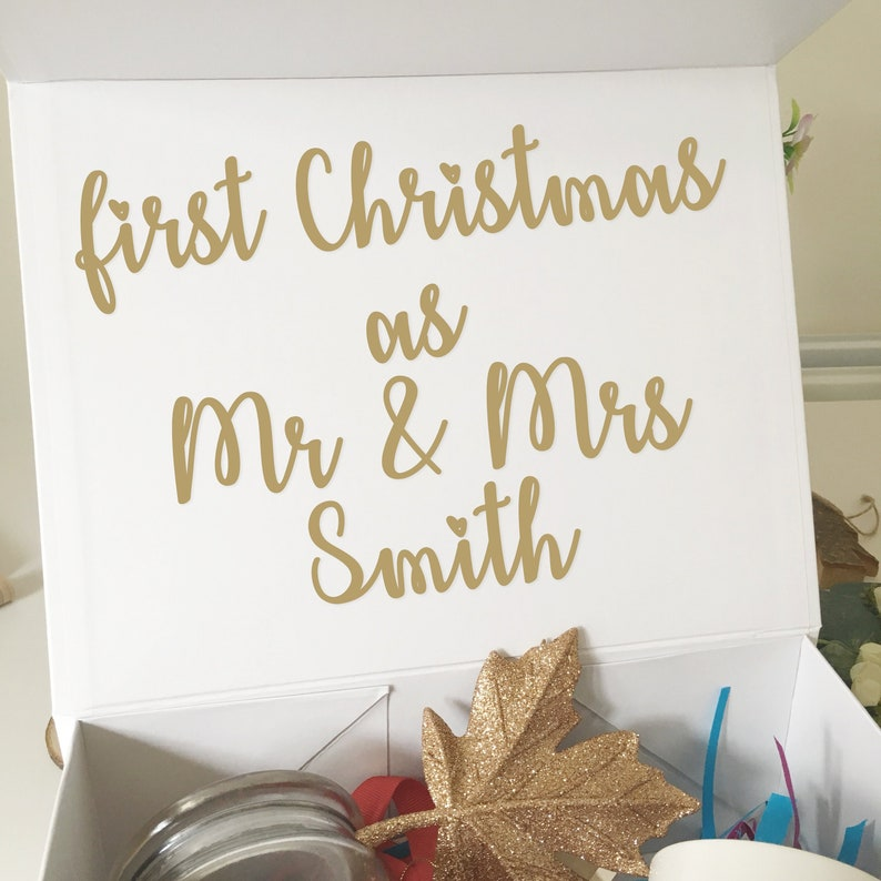 Vinyl Decal Sticker for Newlyweds Christmas Gift Box  DIY image 0