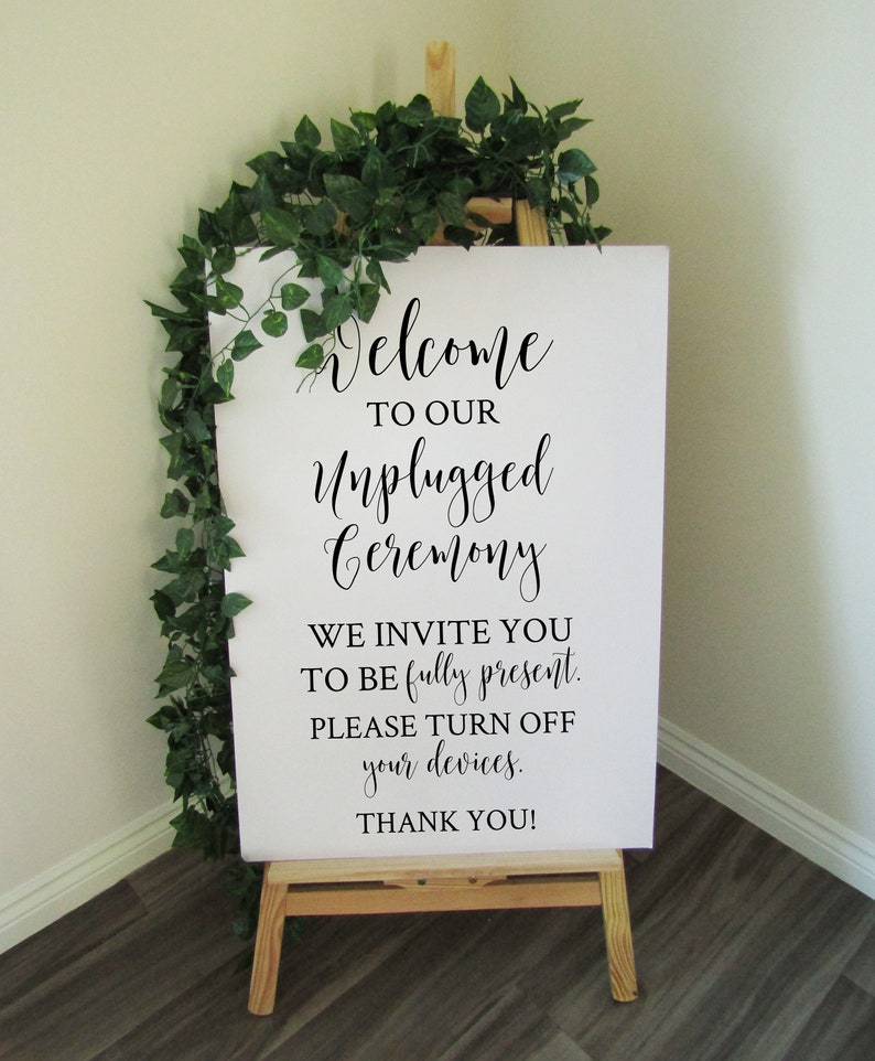 Vinyl Decal Sticker for DIY Unplugged Ceremony Wedding Welcome image 0