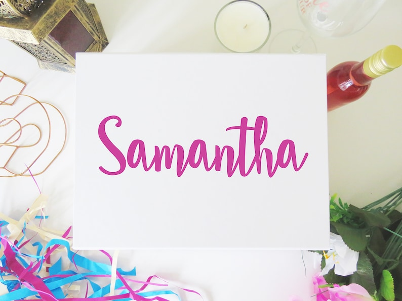 Personalised Vinyl Decal Name Sticker for Gift Box Bridesmaid image 0