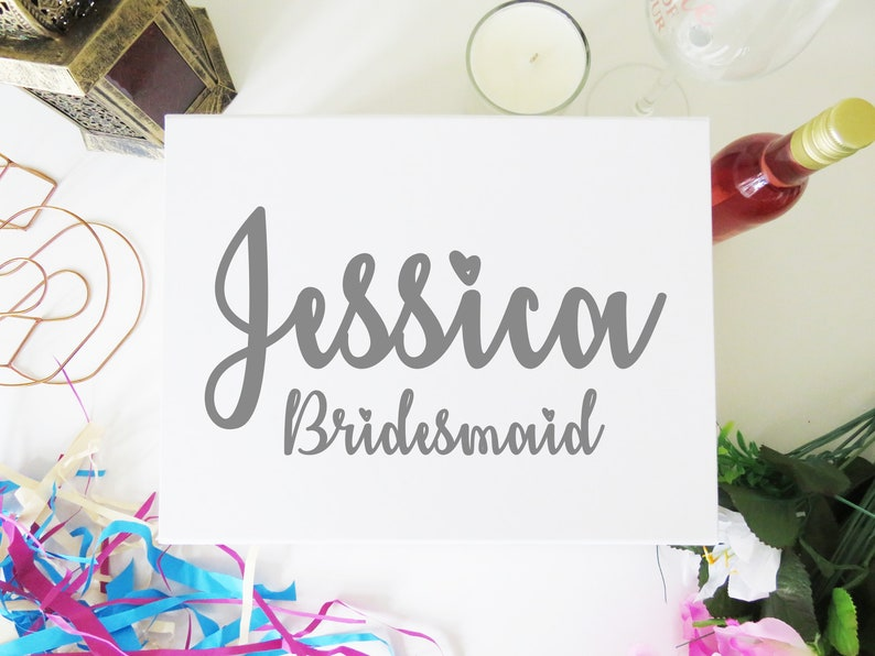 Name and Role Vinyl Sticker for Bridal Party Gift Box  Bride image 0