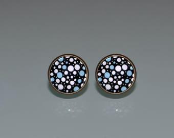 Polka Dot Earrings, Blue and White earrings, Polka Dot Stud Earrings ,Retro earrings, Polka Dots, post earrings, White Bubbles