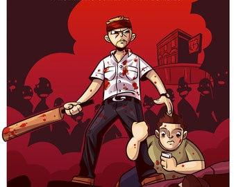 "Shaun of the Dead Illustration, Movie Poster, Original Art, Comedy, Zombies, Horror,  ""8x10"""" - ""12x16"". Edgar Wright"