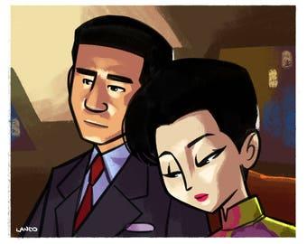 "In the mood for love Illustration, Movie Postcard, Original Art, Drama  ""5x7"""", Wong Kar-Wai"