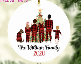 Little Blue People Family Personalized Christmas Ornament