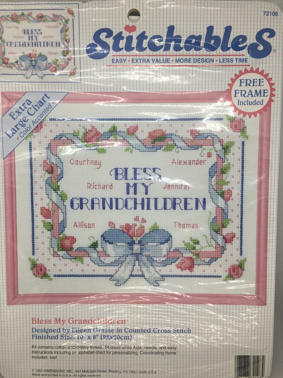 Stitchables Counted Cross Stitch Bless My Grandchildren Etsy