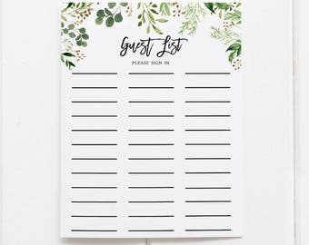 greenery guest list printable guest list sign in sheet guestbook sign in sheet bridal shower guest list greenery botanical foliage