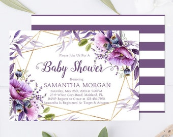 Lavender baby shower etsy purple floral baby shower invitation template purple lavender baby shower invite editable template violet baby shower invite wp501 filmwisefo