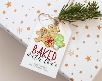 Holiday Cookie Tag Template Baked With Love Tag Christmas Gingerbread Cookie Exchange Tags Instant Download Corjl WP284