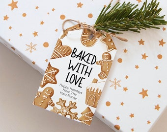 Baked with love tag  Baking spirts bright Tag Christmas Gingerbread Cookie Exchange Tags Instant Download Editable template Corjl WP284