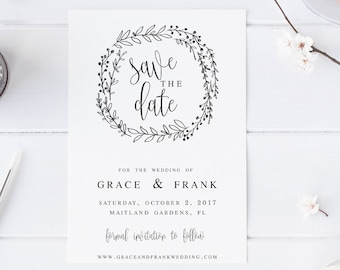 Save the Date Editable Template DIY Shower Template PDF Save the Date Template wedding printable Wedding template Instant Download