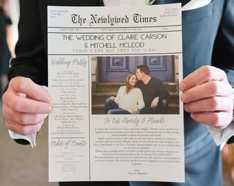 Diy Program Etsy - Wedding newspaper program template
