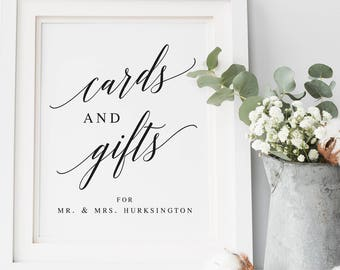 Elegant Modern Cards and Gifts Template Wedding Table Sign Cards Table Sign Gift Table Sign Calligraphy Cards and Gifts Table Sign #WP30