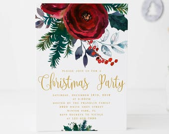 christmas party invitation red floral christmas invitation etsy