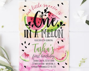 one in a melon birthday party invitation template watermelon etsy