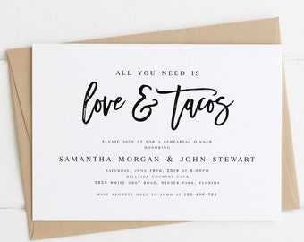 All You Need is Love and Tacos Rehearsal Dinner Invitation Template Modern Rehearsal Dinner Template Calligraphy Wedding Rehearsal #WP90