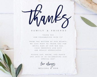calligraphy modern wedding thank you letter template wedding etsy