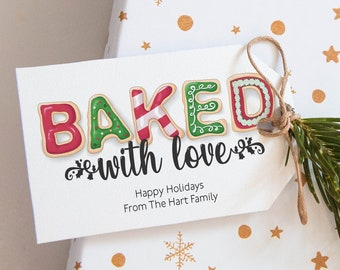Baked With Love Editable Template Gift Tag Christmas Favor Tag Printable Holiday Cookie Tag Cookie Exchange Gift Tags Corjl WP284