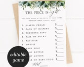 Greenery The Price is Right Baby Shower Game Template, Baby Shower Games, Green Foliage, Guess the Price, Succulent eucalyptus 12