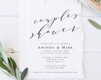 Elegant Couples Shower Invitation Template Wedding Shower Invitation Template Wedding Shower Invite Calligraphy Couples Shower Printable