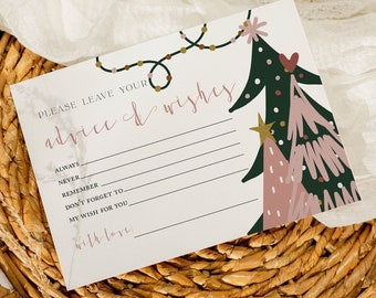 Christmas Baby Shower Advice and Wishes For the Mom To Be Printable Card Holiday Baby Shower Advice Card printable Instant Download WP0009