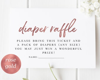 7394a03f4b269 Rose Gold Diaper Raffle Printable Pink Gold Diaper Raffle Ticket Diaper  Raffle Rustic Baby Shower Invitation Rose Gold Baby Shower  WP390