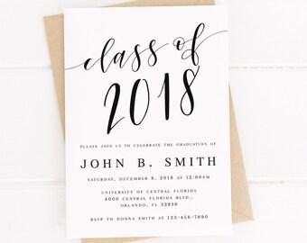 graduation invitation template etsy