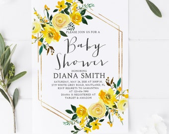 Floral Yellow Rustic Boho Vintage Country Gender Neutral Baby Shower Invitation Package Template,DIY Baby Shower Invitation,Instant Download