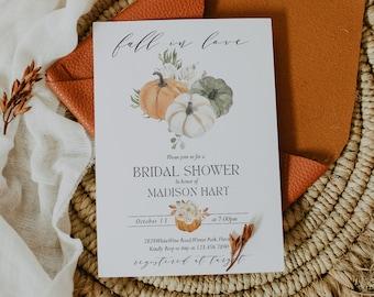 Fall Bridal Shower Invitation Template Pumpkin Bridal Shower Editable Invite White Pumpkin Instant Download Fall In Love Corjl WP6829