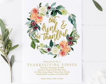 friendsgiving invitation template floral thanksgiving etsy