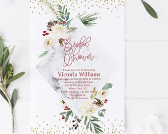 winter bridal shower invitation template editable template gold glitter holiday bridal shower edit pdf instant download