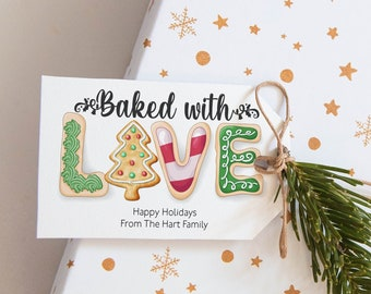Baked With Love Tag Christmas Favor Tag Holiday Gift Tag Printable Holiday Cookie Tag Cookie Exchange Gift Tags Instant Download Corjl WP284