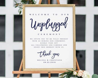 Navy Modern Unplugged Wedding Sign Template Unplugged Ceremony Sign Modern Ceremony Sign Editable Wedding Sign