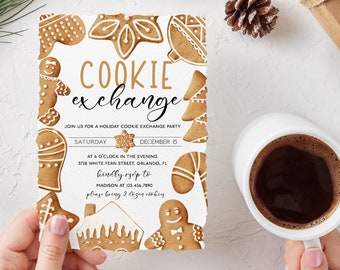 Cookie Exchange Invitation Template Gingerbread Cookie Editable Christmas Cookie Party Invitation Holiday Exchange Party Corjl WP284