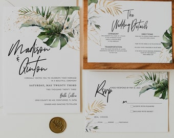 Tropical Jungle Parrot Destination Wedding Invitations TROPICAL GREENERY Botanical Wedding Crest Palm Leaf Border Wedding Invitation Set