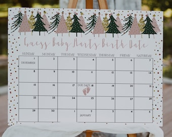 Christmas Baby Due Date Calendar Template Holiday Due Date Baby Birthday Baby Shower Games Christmas Tree Baby Shower Baby Prediction WP0009