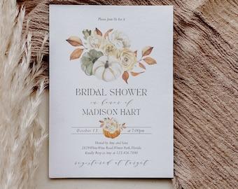 Fall Bridal Shower Invitation Template Pumpkin Bridal Shower Editable Invite White Pumpkin Instant Download Digital Invitation Corjl WP6829